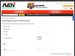 NDI Instrument and Hand Tools gift card purchase