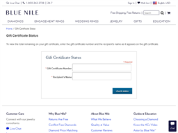 Blue Nile gift card balance check