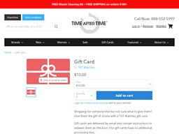 Time After Time gift card purchase