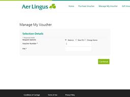Aer Lingus gift card balance check