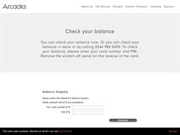 Arcadia Group gift card balance check