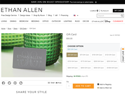 Ethan Allen gift card purchase