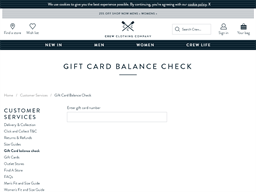 Crew Clothing Company gift card balance check