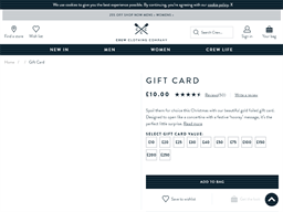 Crew Clothing Company gift card purchase