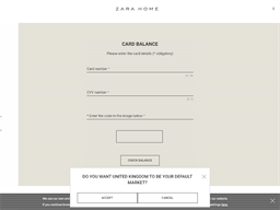 Zara Home gift card balance check