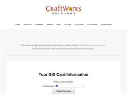 Craft Works Restaurants gift card balance check