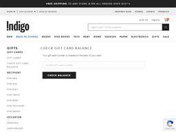 Indigo gift card balance check