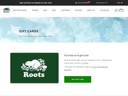 Roots gift card balance check