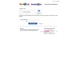 Toys R US gift card balance check