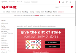 T.J. Maxx gift card purchase