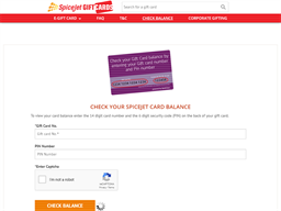 Spice Jet gift card balance check