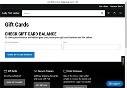 Lady Foot Locker gift card balance check