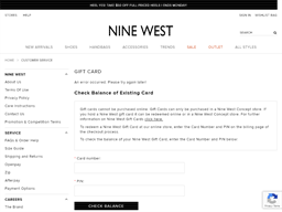 Nine West gift card purchase
