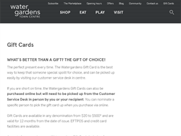 Watergardens Taylors Lakes gift card purchase