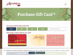 Aladdin's Eatery gift card purchase