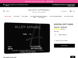 Alloy Apparel gift card purchase