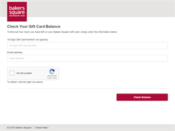 Bakers Square gift card balance check