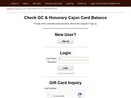 Boudreaux's Cajun Kitchen gift card balance check