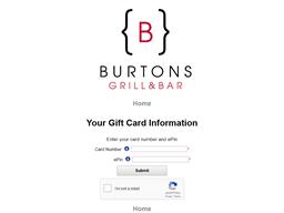 Burtons Grill gift card balance check