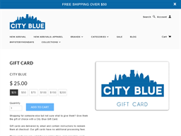 City Blue gift card purchase