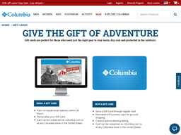 Columbia Sportswear gift card purchase