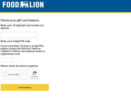 Food Lion gift card balance check