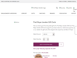 Fred Meyer Jewelers gift card purchase