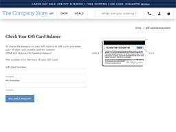 The Company Store gift card balance check