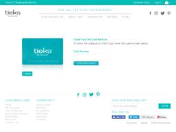 Tieks' gift card balance check