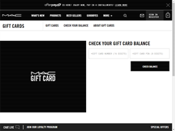 MAC Cosmetics gift card balance check