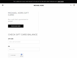 Michael Kors gift card balance check