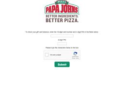 Papa John's Pizza gift card balance check