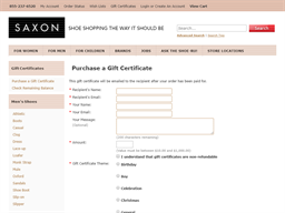 Saxon Shoes gift card purchase