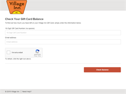 Village Inn gift card balance check