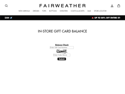 Fairweather gift card balance check
