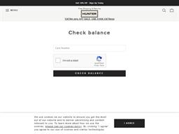 Hunter Boots gift card balance check