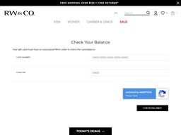 RW & Co gift card balance check