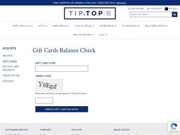 Tip Top Tailors gift card balance check