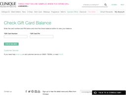 Clinique gift card balance check
