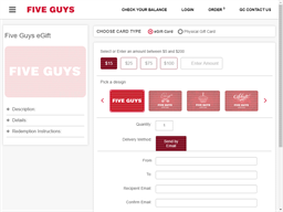 Five Guys gift card purchase