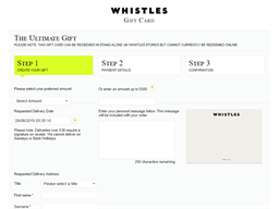 Whistles gift card purchase
