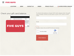 Five Guys Burgers and Fries gift card balance check