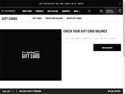 M.A.C. Cosmetics gift card balance check