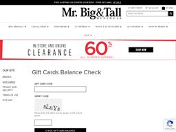 Mr. Big & Tall gift card balance check
