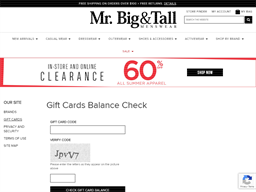 Mr. Big & Tall gift card purchase