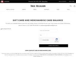 True Religion Brand Jeans gift card balance check