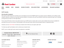Foot Locker Gift Card Balance Check Balance Enquiry Links Reviews Contact Social Terms And More Gcb Today