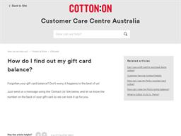 Cotton On Kids gift card balance check