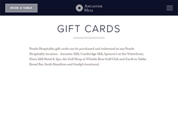 Ancaster Mill gift card purchase