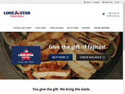 Lone Star Texas Grill gift card purchase